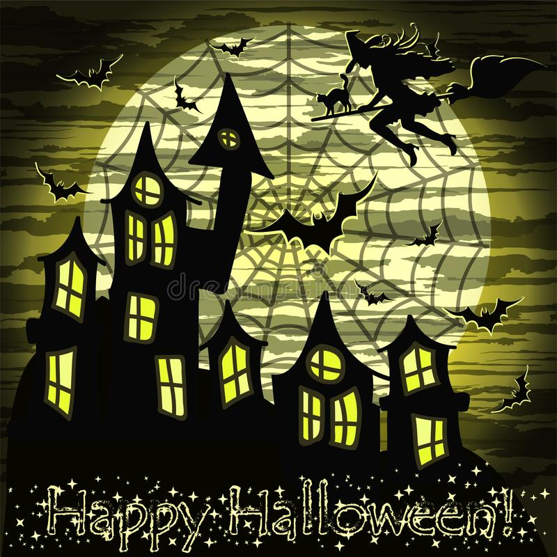 Download Happy Halloween Card With Witch And Cat, Wallpaper Stock  Illustration   Illustration Of Dark