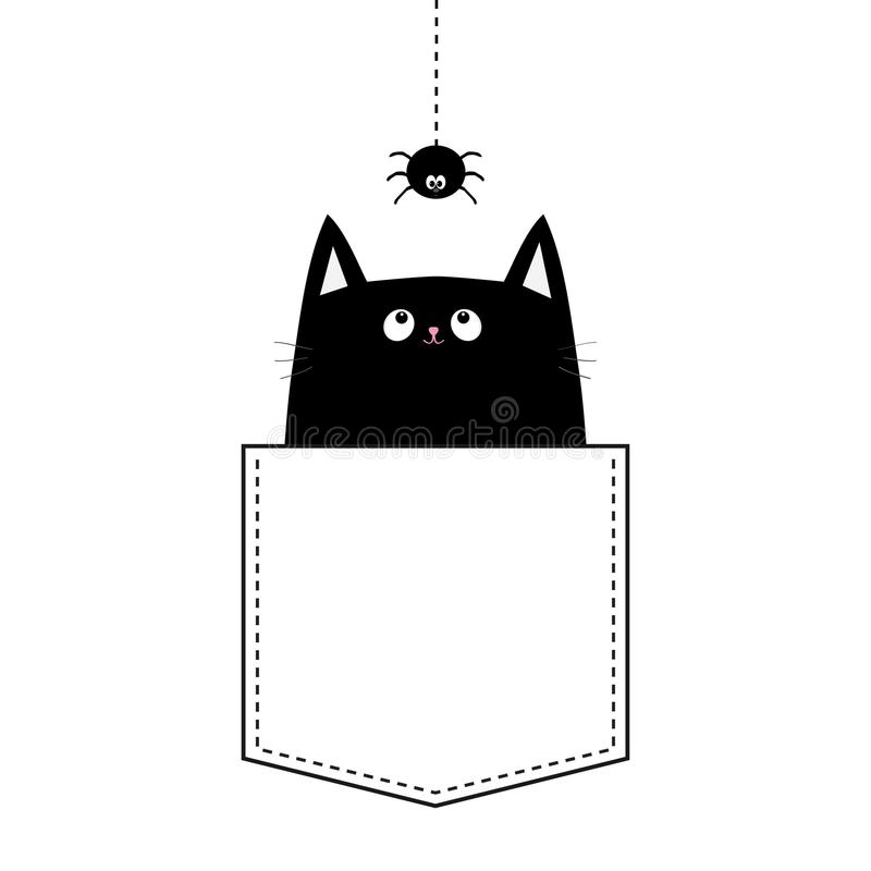 Free Happy Halloween. Cat In The Pocket. Hanging Spider. Dash Line. Cute Cartoon Animals. Kitten Kitty Character. Pet Animal Collection Stock Photos - 121463943