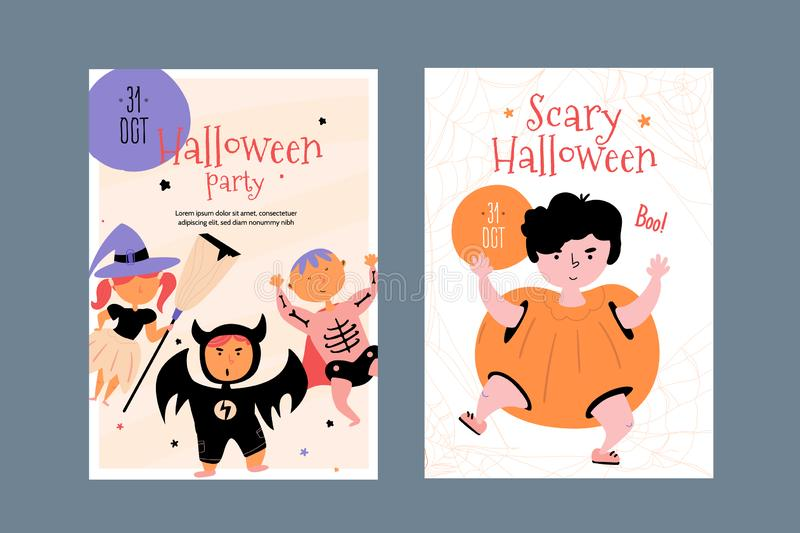 Happy halloween character poster set with pumpkin, bat, witch and skeleton children. Creative Child design for promotion vector illustration