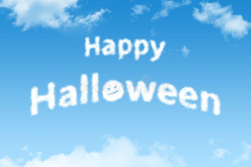 Happy Halloween cloud text on blue sky. Happy Halloween cloud text on bright blue sky stock photos