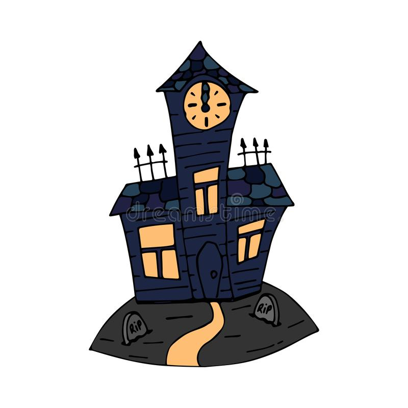 Happy halloween color vector icon with graveyard crypt. Trick or treat. Cute naive doodle, spooky element. Graveyard. Happy halloween color vector icon evil vector illustration