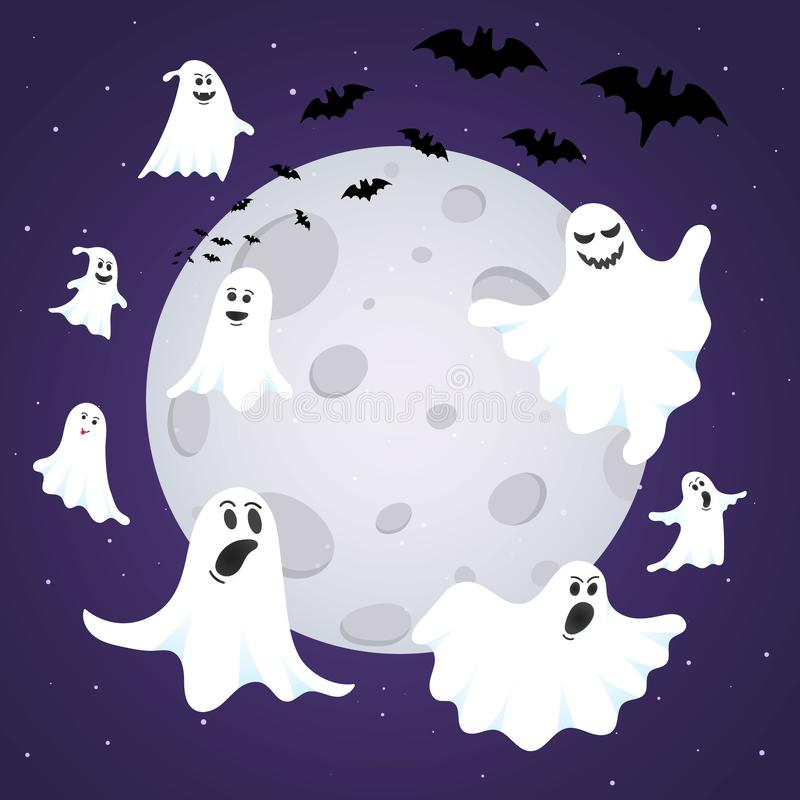 Happy Halloween composition with ghost scary face, night sky, moon. Flying bats and text happy halloween isolated on dark background flat style design stock illustration