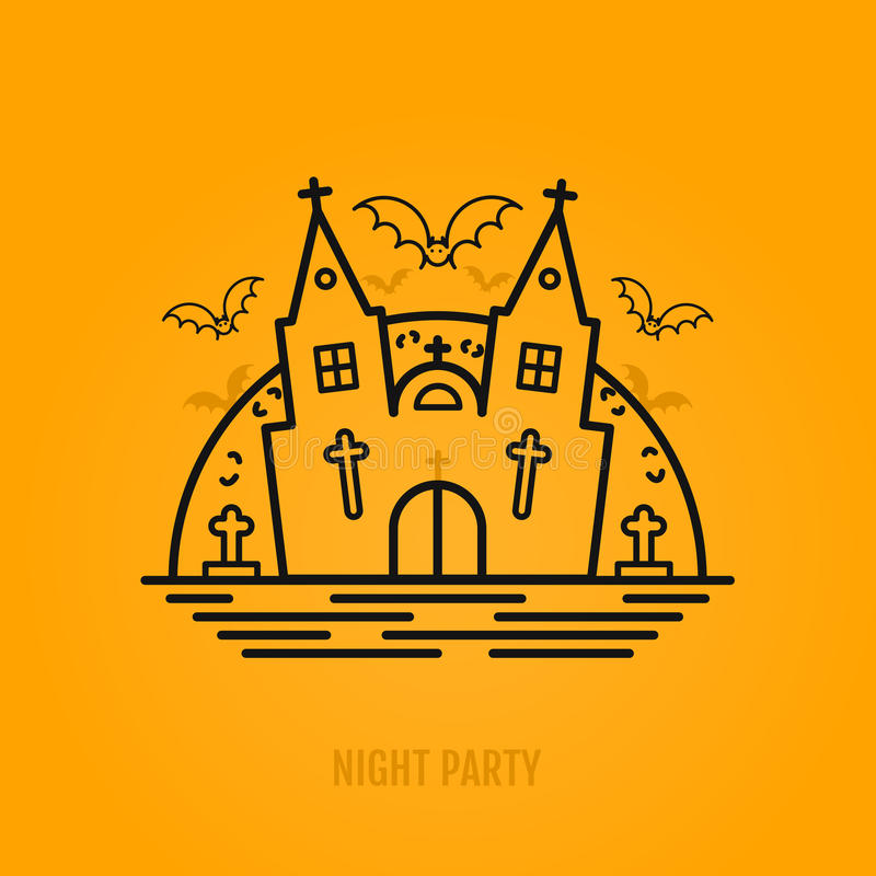 Download Happy Halloween Concept With Bats, Moon, Castle Church And Graves.  Stock Vector