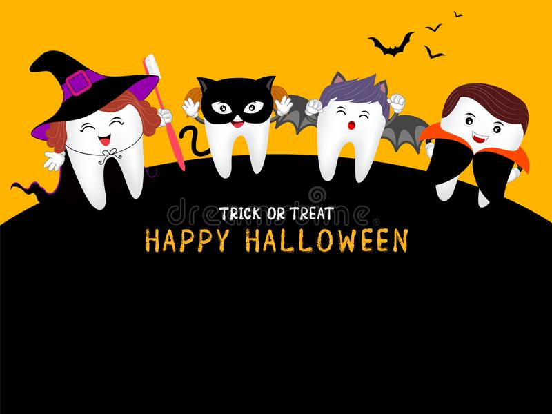Family cute cartoon tooth character as witch, Dracula, black cat and bat in moon night,. Happy Halloween concept. Design for banner, poster, greeting card vector illustration
