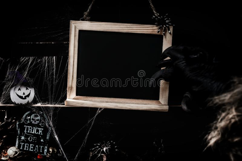 Happy Halloween concept. Scary and dark symbol at night. Happy Halloween concept. Trick or treat in autumn season. Scary and dark symbol at night stock images