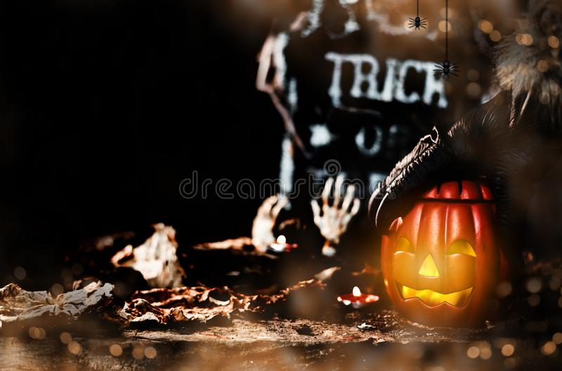 Happy Halloween concept. Trick or treat in autumn season. Scary and boo symbol at night royalty free stock photos