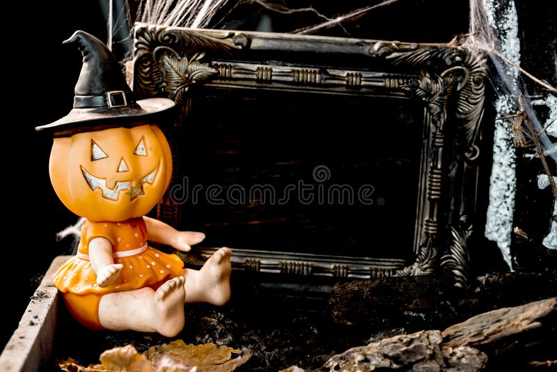 Happy Halloween concept. Trick or treat in autumn season. Scary and boo symbol at night royalty free stock photo