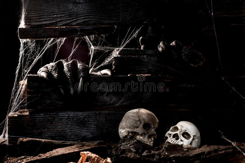 Happy Halloween background. Happy Halloween concept. Trick or treat in autumn season. Scary and boo symbol at night royalty free stock photography