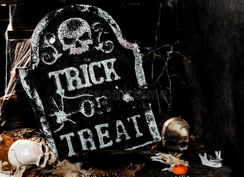 Happy Halloween cencept. Happy Halloween concept. Trick or treat in autumn season. Scary and boo symbol at night royalty free stock photography