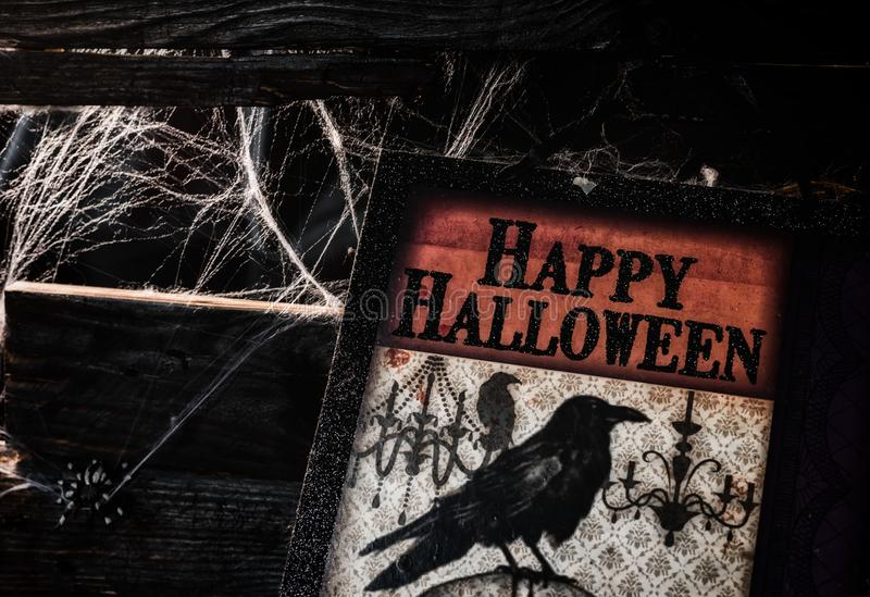 Happy Halloween concept. Trick or treat in autumn season. Scary and boo symbol at night royalty free stock images