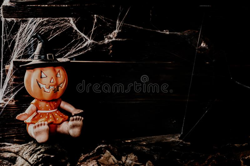 Happy Halloween concept. Trick or treat. In autumn season. Scary and boo symbol at night royalty free stock photos