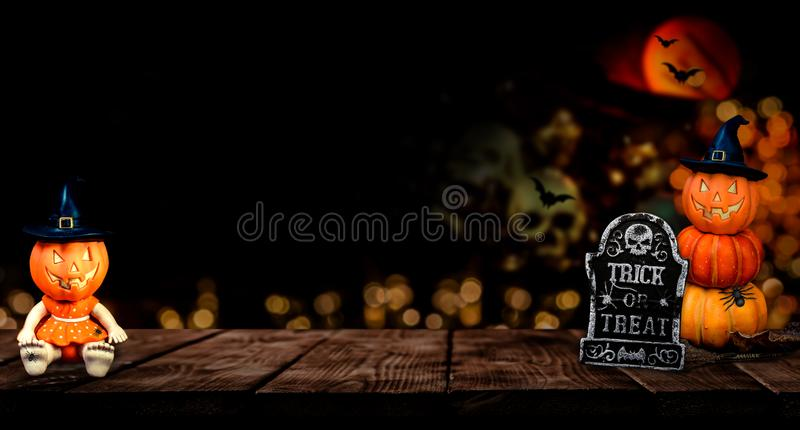 Happy Halloween concept. Trick or treat in autumn season. Scary and dark symbol at night stock photo
