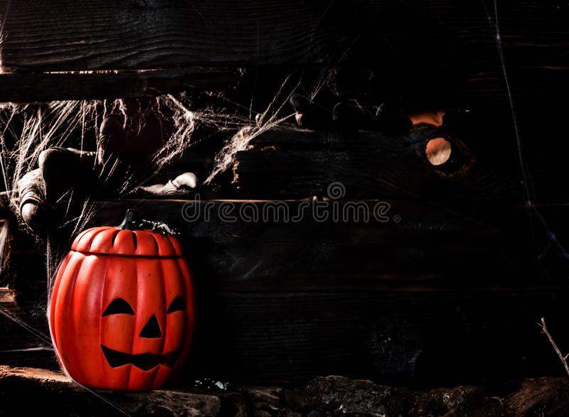 Happy Halloween concept. Trick or treat in autumn season. Scary and dark symbol at night royalty free stock photography