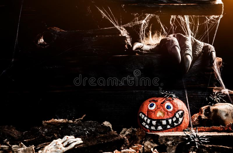 Happy Halloween concept. Trick or treat. In autumn season. Scary and boo symbol at night royalty free stock image