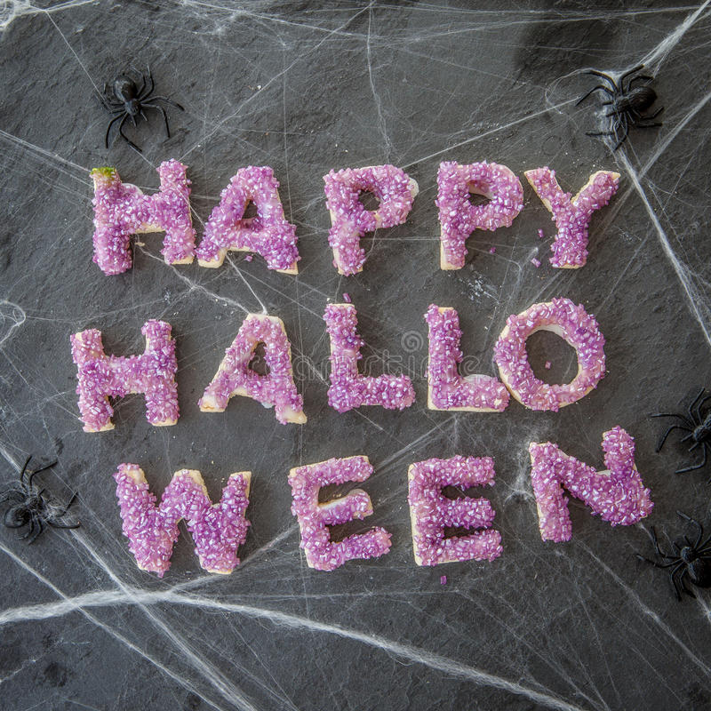 Happy Halloween with cookies stock images