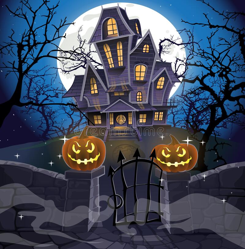 Happy Halloween cozy haunted house royalty free stock image