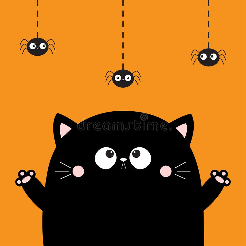 Free Happy Halloween. Cute Cat Face Looking At Hanging Spider. Boo. Cartoon Character. Kawaii Baby Animal. Notebook Cover, Tshirt, Royalty Free Stock Photography - 196941447