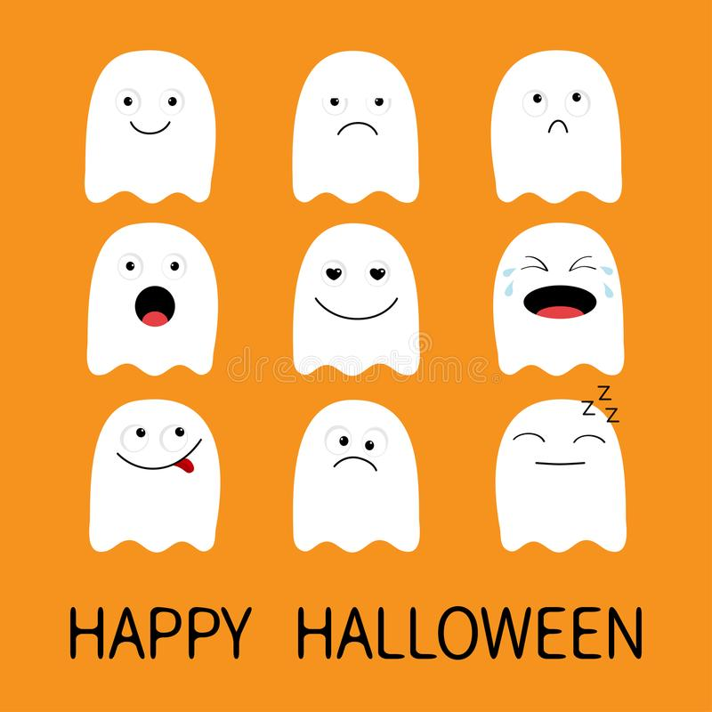 Happy Halloween. Cute ghost. Emoji icon set. Emoticons. Funny kawaii cartoon characters. Emotion collection. Happy, surprised, smi royalty free illustration