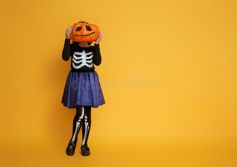 Little girl in skeleton costume royalty free stock photography