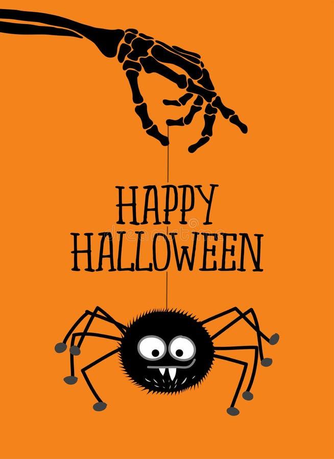 Happy Halloween - cute spider hanging on skeleton arm. Retro badge. royalty free illustration