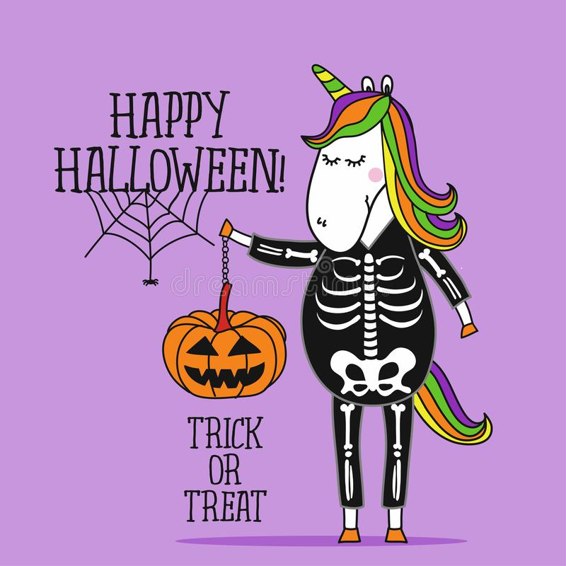 Happy Halloween, Cute Unicorn in  skeleton costume vector illustration