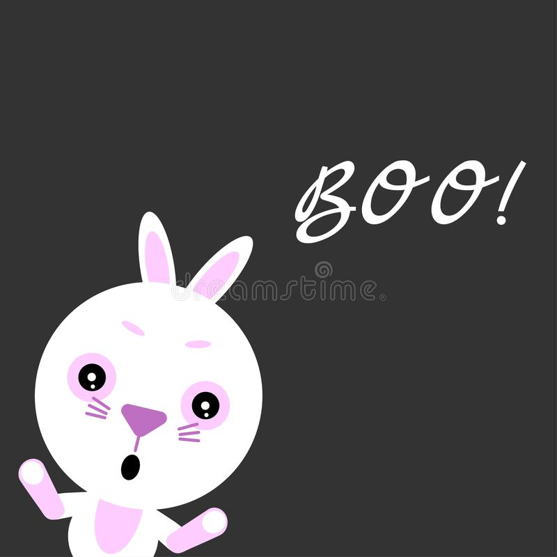 Happy Halloween. Cute vector rabbit.Cartoon colorful scary funny character. Hands up. Grey background. Flat design stock illustration