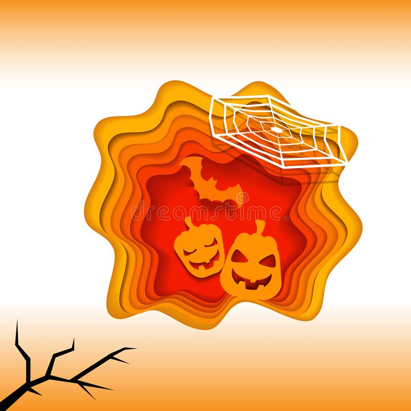 Happy halloween 3d layered abstract paper cut illlustration with pumpkin orange background. Vector template in carving art style. Modern design stock illustration