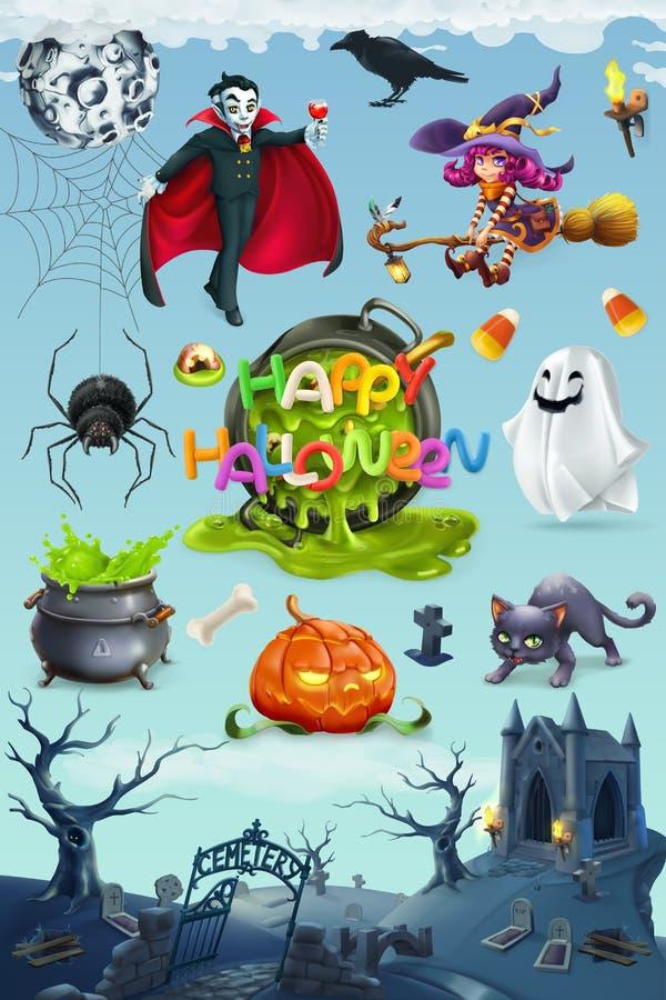 Happy Halloween. 3d vector icon set vector illustration