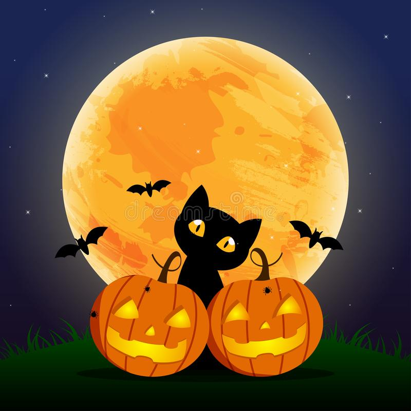 Happy Halloween Day , Bat and spider , Cute pumpkin smile spooky scary but cute and black cat party under moon stock illustration