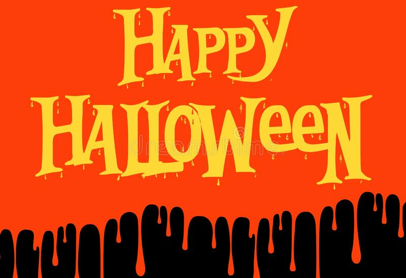 Happy halloween day on black . Poster concept royalty free illustration