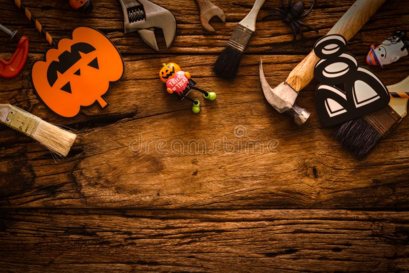 Happy Halloween day with construction DIY handy tools on grunge wood background concept. Flat lay Top view with copy space for. Your text, autumn, builder royalty free stock photos
