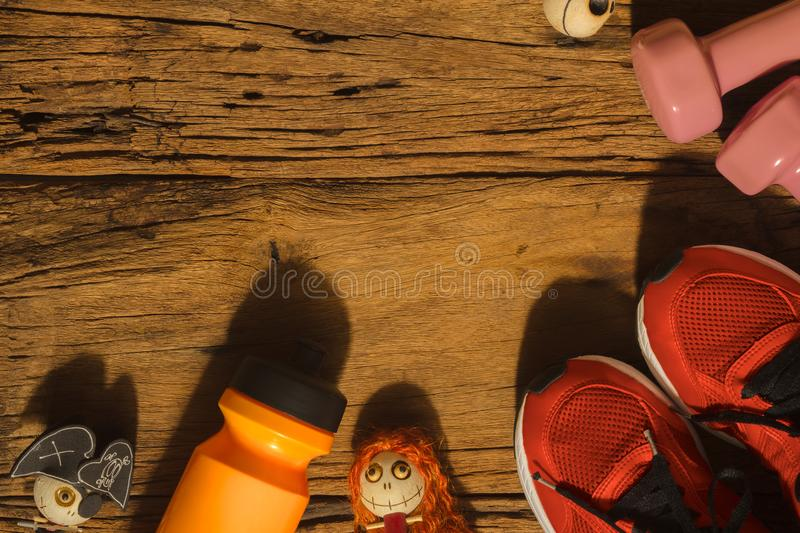 Happy Halloween day with Fitness, Exercise, Working out healthy. Lifestyle background concept. Flat lay Top view with copy space for your text royalty free stock images