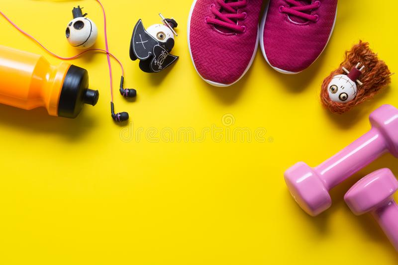 Happy Halloween day with Fitness, Exercise, Working out healthy. Lifestyle background concept. Flat lay Top view with copy space for your text royalty free stock photo