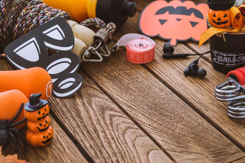 Happy Halloween day with Fitness, Exercise, Working out healthy lifestyle background concept.  Halloween healthy lifestyle. Background with copy space for your royalty free stock image
