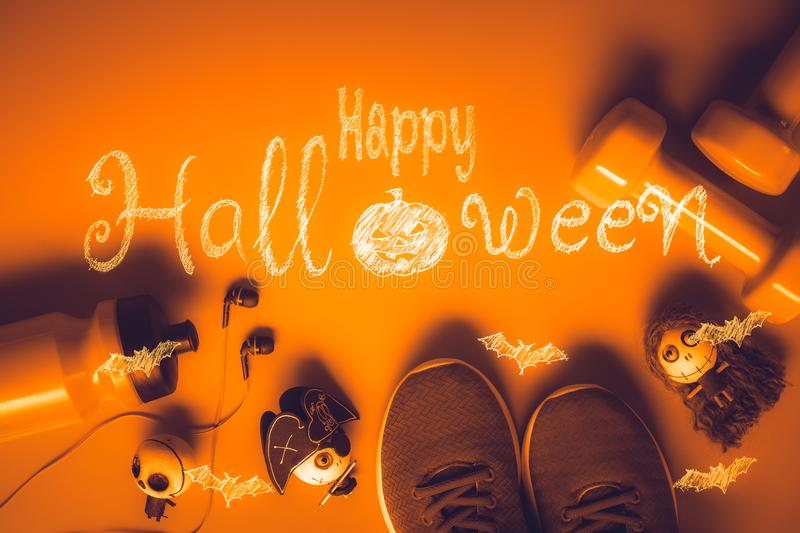 Happy Halloween day with Fitness, Exercise, Working out healthy royalty free stock images