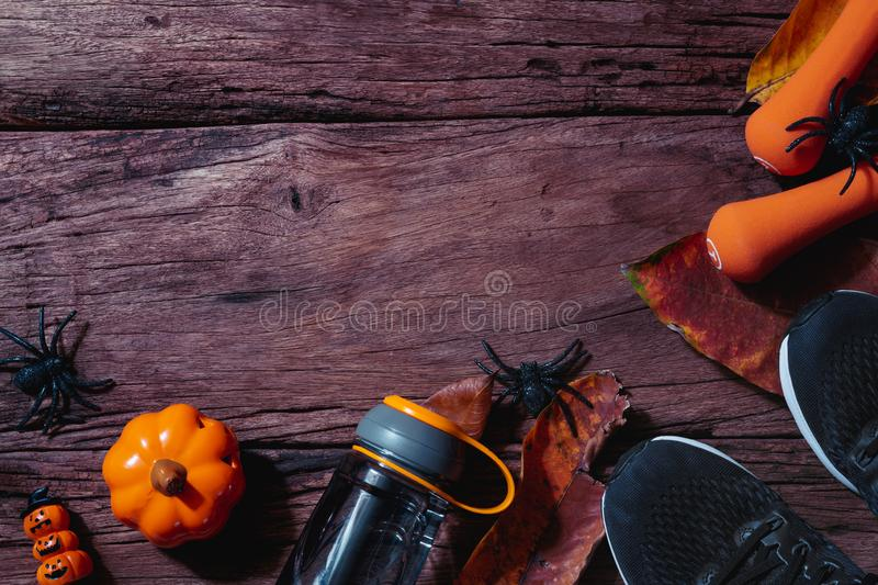 Happy Halloween day with Fitness, Exercise, Working out healthy lifestyle background concept. Flat lay Top view with copy space. For your text, abstract stock photo