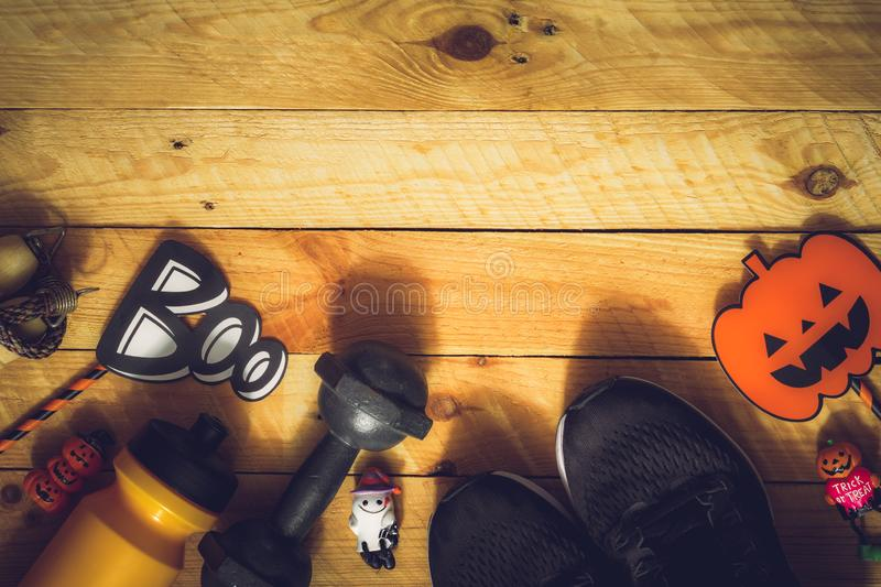 Happy Halloween day with Fitness, Exercise, Working out healthy lifestyle background concept. Flat lay Top view with copy space stock images