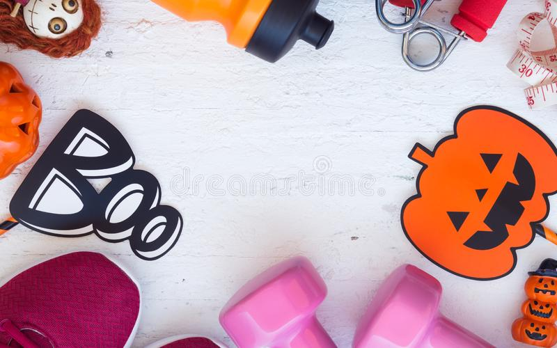 Happy Halloween day with Fitness, Exercise, Working out healthy. Lifestyle background concept. Flat lay Top view stock images