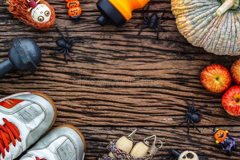 Happy Halloween day with Fitness, Working out healthy lifestyle stock photos