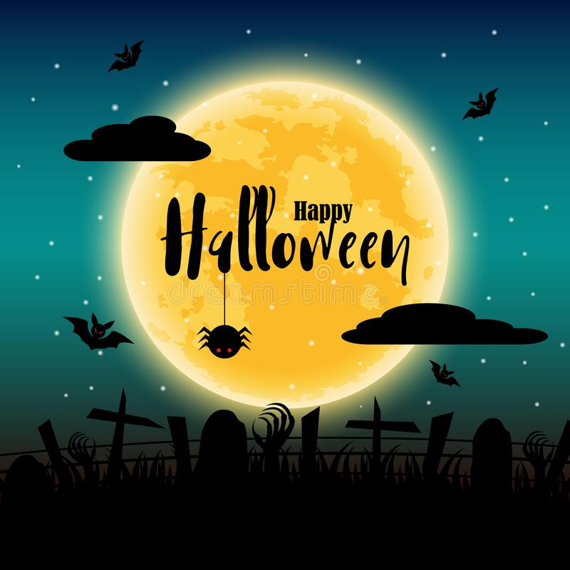Happy Halloween day with full moon in background. Bats and spider and corpse elements. Holiday and festival concept. Ghost and stock illustration