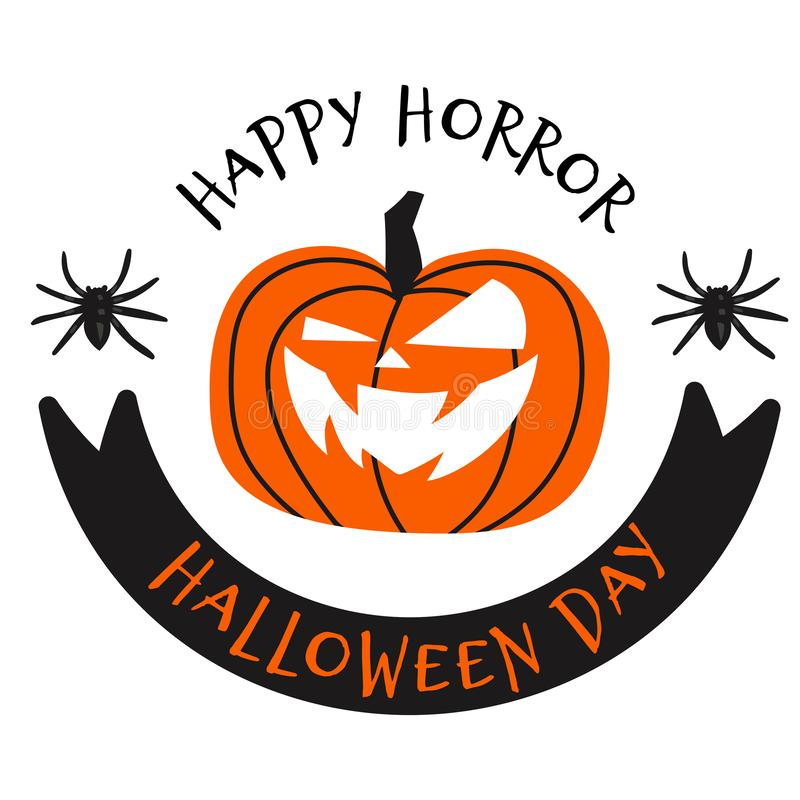 Happy halloween day vector illustration with spider and pumpkin. Creative typography concept on Halloween stock illustration