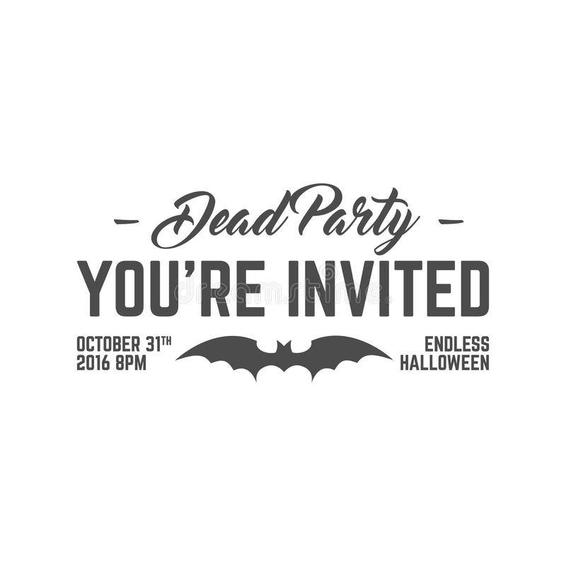 Happy Halloween 2016 dead party invitation label. Typography insignia for celebration holiday. Retro badge, logo. royalty free illustration