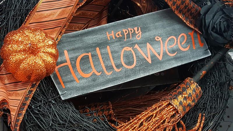 Happy Halloween. Decor and artificial harvest items stock photo