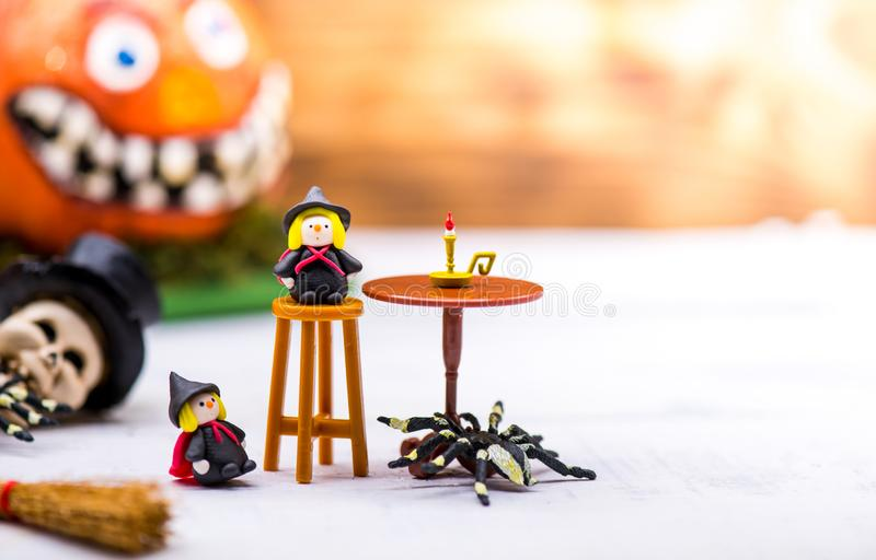 Happy Halloween concept. Happy Halloween decoration for party. trick or treat at in autumn season stock photos