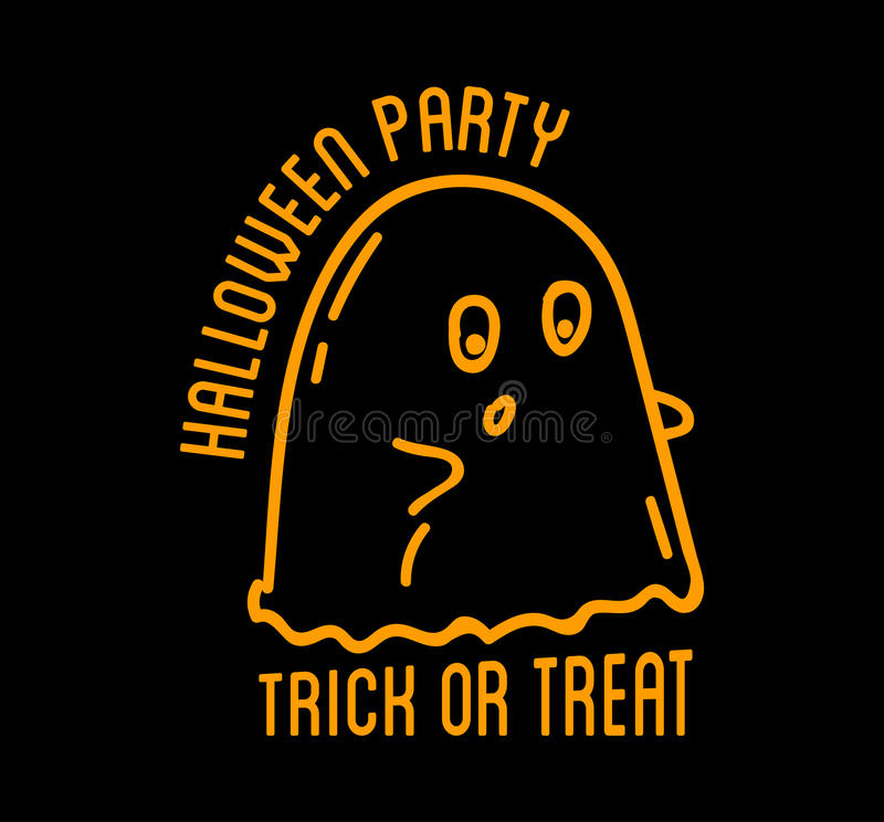 Happy Halloween design. Black badge and labelt with text inside. royalty free illustration