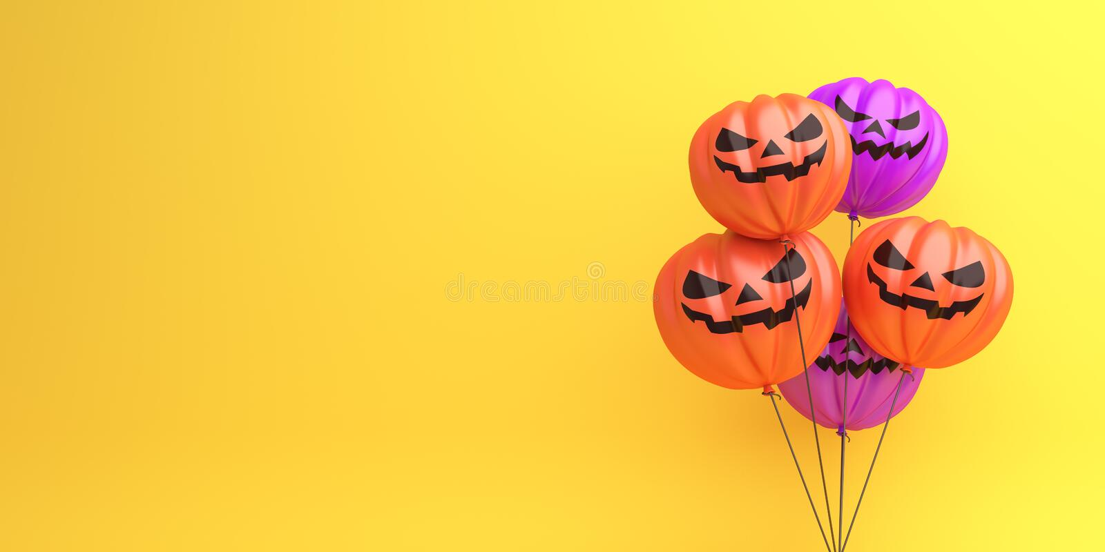 Happy Halloween design creative concept celebration holiday, Pumpkin balloons on orange background, copy space text area. 3D rendering illustration vector illustration