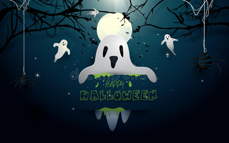 Happy halloween design illustration. White ghosts and bats flying on full moon background royalty free illustration