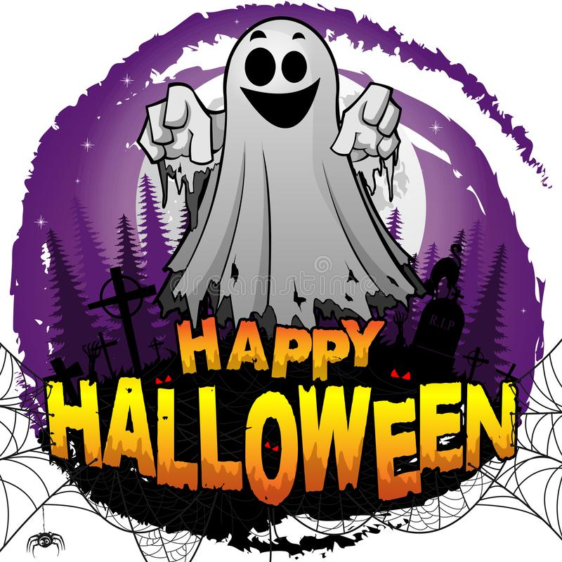 Happy Halloween Design template with ghost. stock illustration