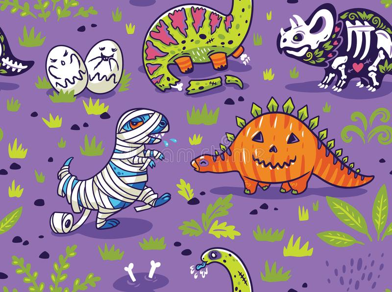 Dinosaurs in costumes for Halloween. Vector seamless pattern stock illustration