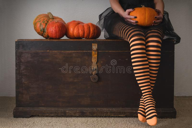 Happy halloween! Female feet in stockings with an orange pumpkin. Happy halloween! Female feet in stockings with an orange pumpkin stock image